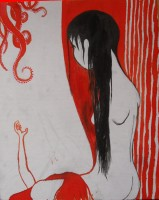 Ink and ecoline on canvasboard, 2009