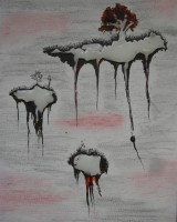 Ink, softpastels and hotmelt adhesive on canvasboard, 2009